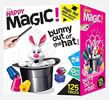 Happy Magic 125 Trick Set - Magic Set for Kids 8 and Up - Clear Instruction Guide with Pictures and Videos - Black Secret Compartment Magician Hat