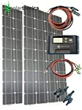 Solar Set 200Watt–2x 100vatios panel solar mono, 12V/24V regulador de carga solar 15A