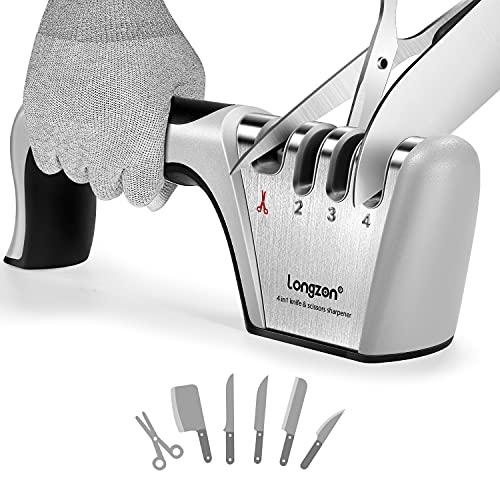 Afilador de Cuchillos, Afilador de Cuchillos Profesional, Knife Sharpener, longzon 4 en 1 Afilador de Cuchillos Manual para Cocina con Un par de Guantes Antideslizantes, para Cuchillos y Tijeras