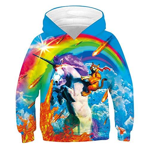 chicolife Adolescentes Sudadera con Capucha para niños Suéter 3D Victory Cat Riding A Unicornio Sudaderas con Capucha Novedad Sudaderas Unisex de Manga Larga con Arcoiris y Bolsillo XL Unisex