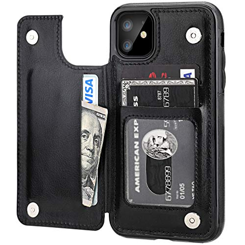 iPhone 11 Wallet Case with Card Holder,OT ONETOP PU Leather Kickstand Card Slots Case,Double Magnetic Clasp and Durable Shockproof Cover for iPhone 11 6.1 Inch(Black)
