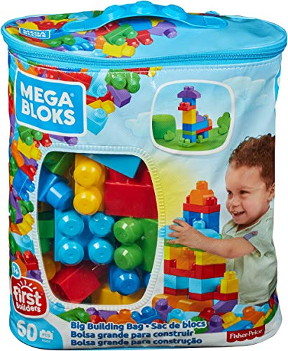 Mega Bloks Bolsa clásica con 60 bloques de construcción, juguete para bebé...