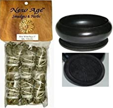 New Age 3 Pack Smudge Cedar Sage, White Sage and Blue Sage Set with 'Uplifiting Therapies' Black Smudge Pot Smudging Kit