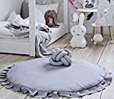 Ashanlan Krabbeldecke Rund Baby Matt Weich Gepolstert Kinderteppich Kriechmatte Spielmatte Rüschen Teppich für Kinderzimmer Dekoration Grau