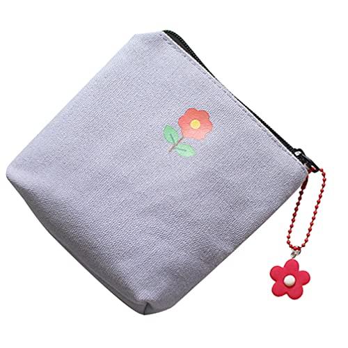 DOITOOL Sanitary Napkin Storage Bag Cute Sanitary Pad Pouch Zipper Pouch Coin Purse Mini Canvas Cash Bags Makeup Bag Toiletry Pouch Portable Coin Bags White Purple Green