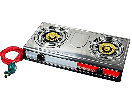 Propane Gas Burner Stainless Steel 20000 BTU with Regulator - National Standard Products® (2 Flame)
