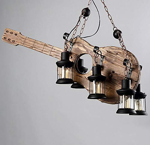 Vintage Kronleuchter, Industrie Kronleuchter, Restaurant Bar Cafe Lampen, Massivholz-Gitarre Kronleuchter (Color : Guitar)