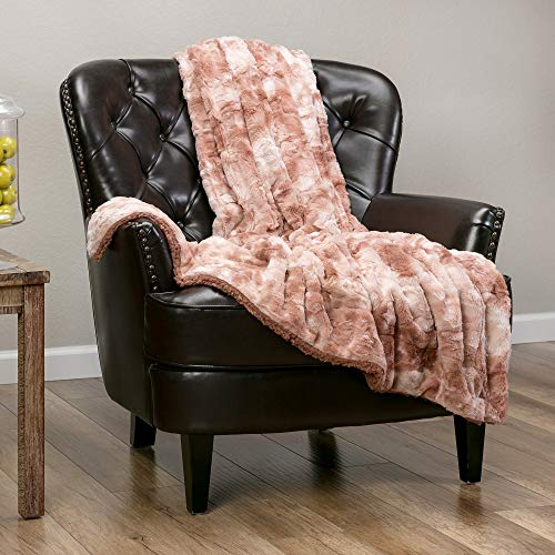 Chanasya Fuzzy Faux Fur Throw Blanket - Light Weight Blanket for Bed Couch and Living Room Suitable for Fall Winter and Spring (50x65 Inches) Rose Dust