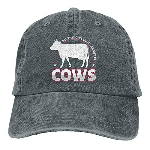 All This Girl Cares About is Cows Gorra de béisbol al aire libre suave algodón lavado ajustable sombrero de papá