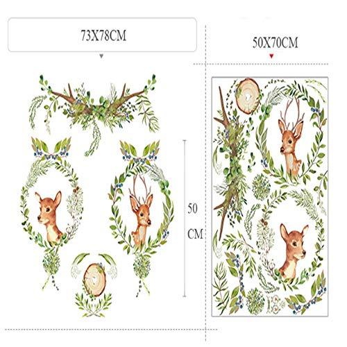 WTTTL Sticker Mural Sticker Mural Autocollant animalierVert Arbre Feuille Guirlande Cerf Papier Peint Auto-Adhésif Accueil Salon Salle Saloon Magasin Décor Mignon De Cerf Autocollant Mural