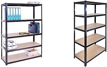 G-Rack (Noir) Rangement pour Garage, 180cm x 120cm x 45cm 5 Niveaux, Capacité de 875kg & Heavy Duty 5Tier Boulons Garage ...