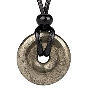Golden Pyrite Lucky Coin Amulet Pendant Adjustable Cord Necklace
