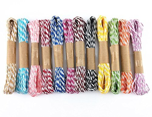 yueton 12 Bundles 10m Raffia Stripes Paper String DIY Craft Decorating Tool
