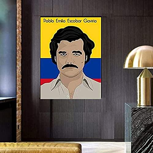 JLFDHR Leinwand Kunstwerk Malerei 30x50cm KEIN Rahmen Pablo Emito Escobar Gaviria Vintage Malerei Einzigartige Kunst Bild Kunstwerk