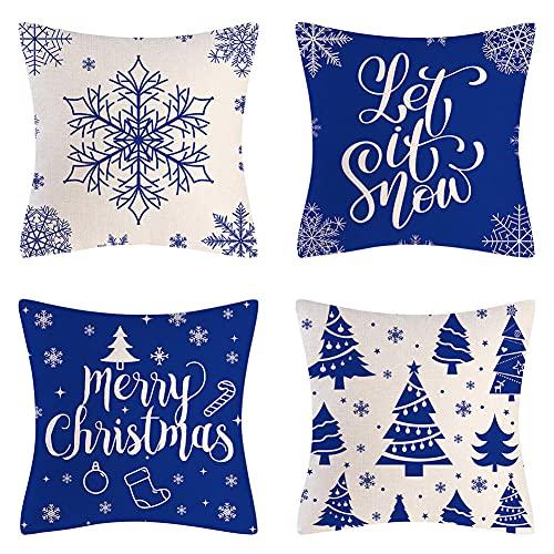 Fundas Cojines 50X50cm,Juego de 4 Cojines Sofa, Funda de Cojín para Impresión a Doble Cara Navidad Azul,Fundas de Almohada Decorativas Cuadradas,Funda Cojin Terciopelo para Sofá Cama