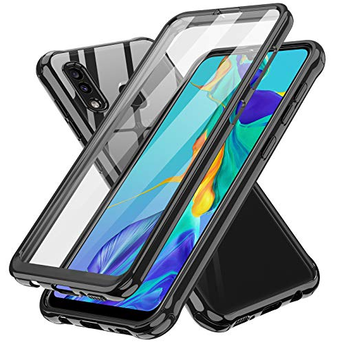 LeYi Samsung A20 Case, Samsung Galaxy A20 Case with Built-in Screen Protector, 360 Full-Body Protective Dual Layer Shockproof Slim Clear Anti-Scratch Phone Case Cover for Samsung A20, Black