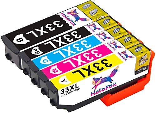 HaloFox 5 Cartucce d'inchiostro 33XL BK/PBK/M/C/Y Sostituire per Epson Expression Premium XP-530 XP-540 XP-630 XP-630 Series XP-635 XP-640 XP-640 Series XP-645 XP-830 XP-900 Stampante