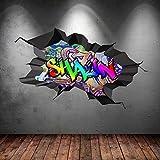 Wall Smart Designs Multi Farbige Personalisiert 3D Graffiti Name Cracked Wandkunst Aufkleber - L 110cm(W) x 70cm (H)