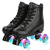 Womens Roller Skates Light Up Wheels, Artificial Leather Adjustable Double Row 4 Wheels Roller Skates Shiny Skates for Teens,Adult (Flash wheel,42-US: 9.5)