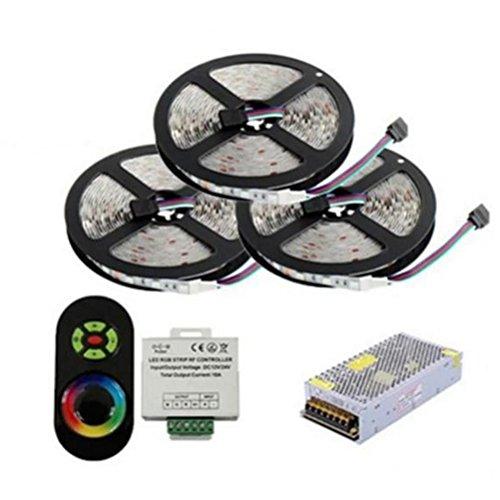 Uonlytech 15M 15A Impermeable SMD 5050 60 LED RGB Tira de luz Set Flexible Cinta Adhesiva para Decoración de Clubpartys en Interior con Mando a Distancia