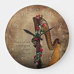 DoreenAbe Classic Wood Clock, Non Ticking Clock 12 Harp Wooden Decorative Round Wall Clock