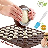 Macaron Baking Mat Set - 48 Capacity Macaron Silicone Making Mats Non Stick Cakes Mould Trays Bakeware with 4 Nozzle (Coffee+Oil Brush)
