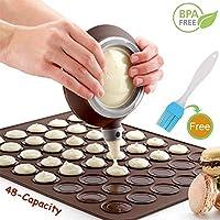 nifogo macaron set, set per macarons contiene fino a 48 macaron, tappetino da forno in silicone e penna per decorare con 4 ugelli (z-marrone+pennello)