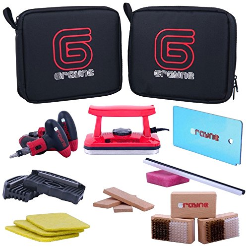 Grayne Deluxe Ski and Snowboard Tuning Kit w/Waxing Iron