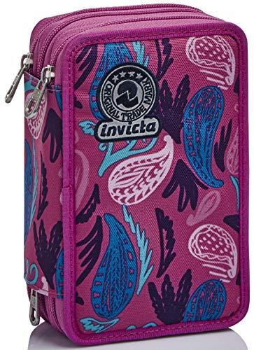 Astuccio 3 Scomparti Invicta , Paisley, Rosa, Completo di matite, penne, pennarelli…