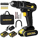 20V Max Cordless Drill Driver Kit with 2 Li-ion Batteries and Charger, Electric ScrewDriver,Variable Speed 3/8Inch Keyless Chuck 25+1 Positions Clutch,Front LED Light,Power Drill Set with Accessaries