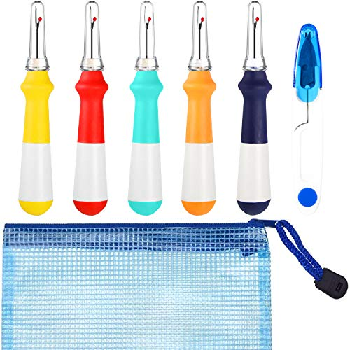 5 Pieces Ergonomic Grip Seam Ripper Thread Remover Tool, U Embroidery Scissor Snip Thread Tailor and Grid Zipper Bag for Quilting Sewing Crafting Opening Removing Seams and Hems