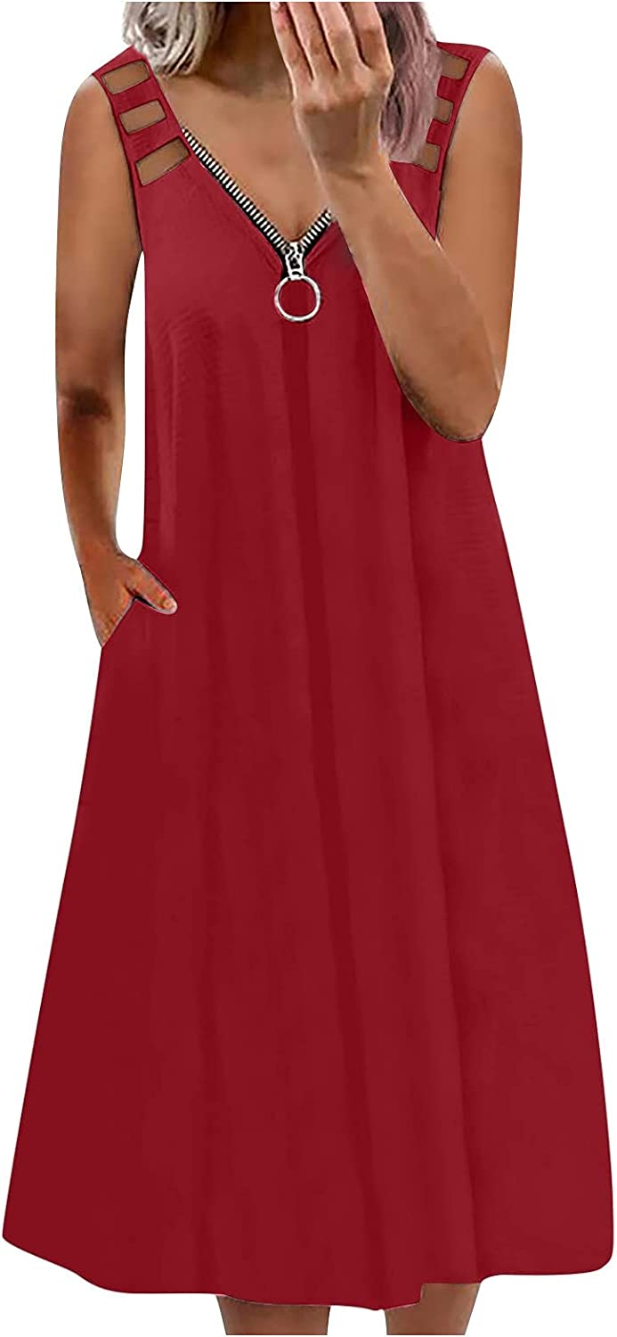 Super sale Aniywn Summer Rapid rise Dress Women's Casual Sleevel Loose V-Neck Zip Fit