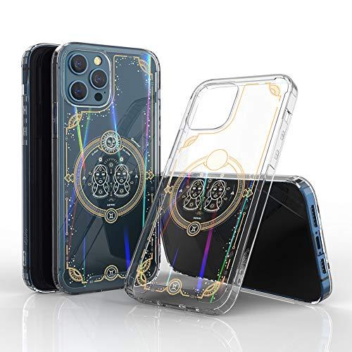 Schutzhülle für iPhone 12 / Pro (transparent, Regenbogen-Sternzeichen-Design) – Zwillinge