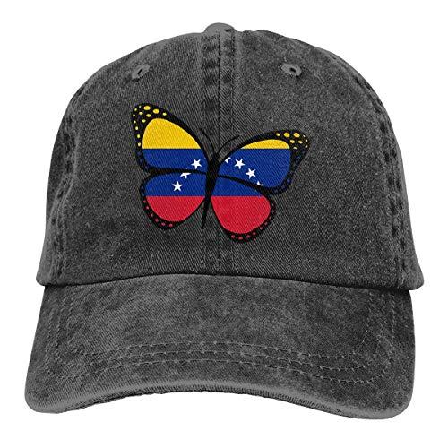 Bandera de Venezuela Mariposa de los Hombres de la Mujer Jeans Ajustable Gorra de béisbol Sombrero del Camionero del Dril de algodón teñido con Hilo