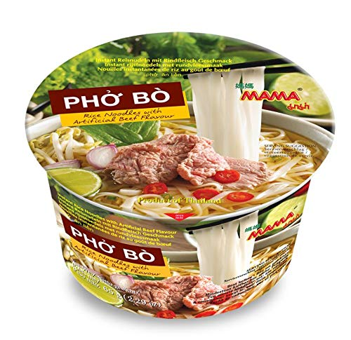 MAMA Pho Bo Instant Beef Soup Bowl Noodle In Vietnamese Style, Silky-smooth, Chewy Rice Noodles With Piping Hot Aromatic Soup Mix (6-Bowl Pack, 2.29 oz Per Bowl)