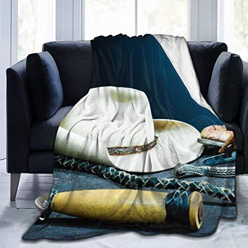 AIKIBELL Ultraweiche Micro Fleece Decke,Cowboystiefel, Hufeisen, Peitsche, Sporen und Hut auf Holz,Home Decor Warmwurfdecke für Couchbett,80