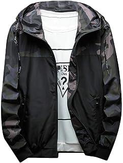 XINHEO Mens Windbreaker Hood Camouflage Zip-up Spring/Autumn Stitch Jacket