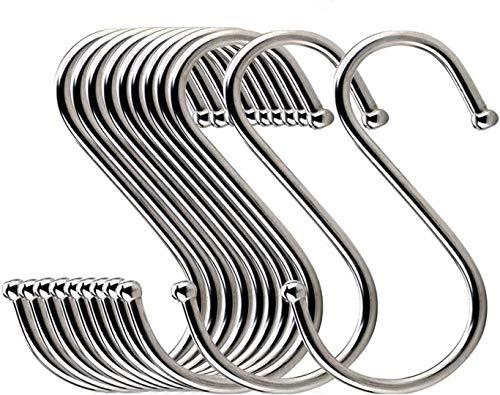 30ST S-Haken S Hängehaken Edelstahl Haken S-förmige Anti-Rost Metall Kleiderbügel Metall Haken Pothooks für Küche Badezimmer Schlafzimmer verwenden (Schwarz) (Silber) (Silber)
