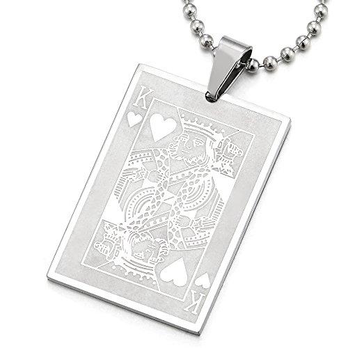COOLSTEELANDBEYOND Rey Corazón Tarjeta Poker Colgante, Collar de Hombre Mujer, Acero Inoxidable, Bola Cadena 75CM