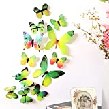 Bokeley 12 x PCS 3D Colorful Butterfly Wall Stickers DIY Art Decor Crafts for Nursery Classroom Offices Kids Girl Boy Baby Bedroom Bathroom Magnets (Green)