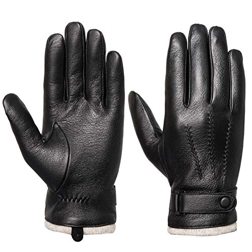 Acdyion Herren Winter Lederhandschuhe Touchscreen geeignet Wollfutter Handschuhe aus Echtleder, Schwarz, (S)