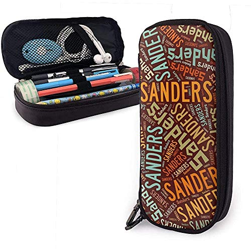 Sanders - American Nachname Große Kapazität Leder Federmäppchen Bleistift Stift Schreibwaren Halter Veranstalter Büro Filzstift Tragbare Kosmetiktasche