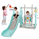Naice Toddler Slide 3 in 1 Kids Climber Swing Set, Heightened Guardrail, Sturdy Frame with Basketball Hoop 63' Indoor Kids Slide Outdoor Playground Swing Toy Kids Gift