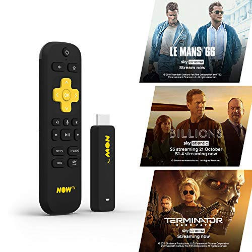 NOW TV Smart Stick with 1 month Entertainment Pass and 1 month Sky Cinema Pass | HD Streaming Media Player – Watch, Disney+, YouTube, Netflix, BBC iPlayer