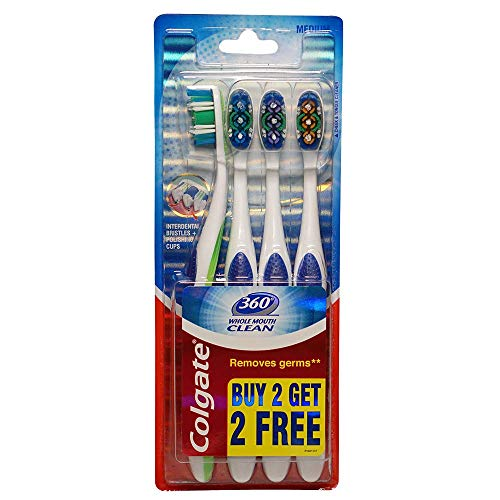 Colgate 360 Whole Mouth Clean Toothbrush - 4 Pcs (Buy 2 Get 2 Free)