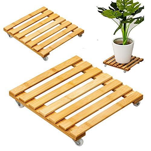 Zdcdy 2PCS Removable Flower Pot Tray, Bamboo Potted Plant Flower Pot Stand with Wheels, Pot Mover Planter Pallet for Indoor Outdoor Home Garden, Garden Plant Pot Trolley,25+30cm