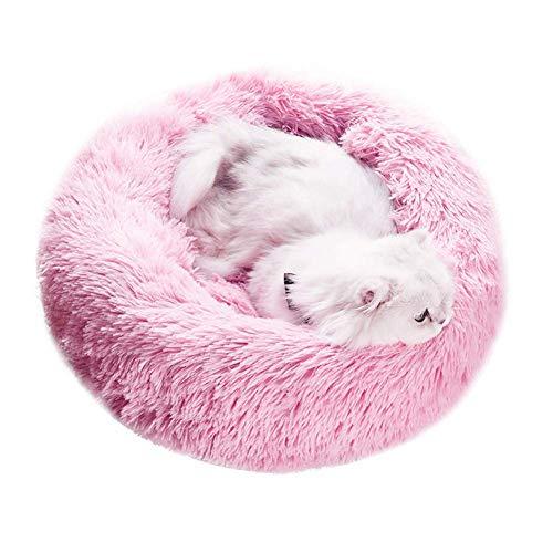 JSONA Deluxe Hundebett Nesting Cave Raised Rim Haustierkissen mit abnehmbarem Bezug Waschbarer Shag Fuax Pelz Katzenkorb für kleinen mittelgroßen Hund, Rose L.