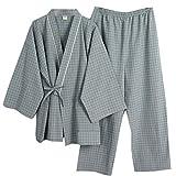 Trajes de Estilo japonés para Hombre Trajes de Pijamas de Kimono Puros Traje de Vestir Set-B