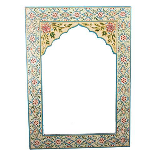 Casa Moro Espejo oriental Shyla amarillo de madera maciza pintada a mano 56 x 41 cm (alto x ancho) | Espejo de pared colorido como de 1001 noche | Espejo de madera estilo marroquí | RK510B