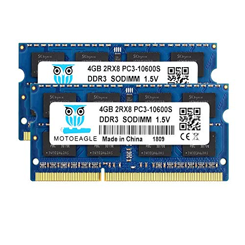 Motoeagle 8GB Kit (2x4GB) PC3-10600S DDR3 1333MHz 2Rx8 PC3 10600 SODIMM 204 Pin 1.5V Laptop Memory Notebook RAM Module for Intel AMD and Mac Computer